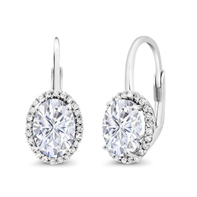 10Kホワイトゴールドダングルlever-backイヤリングForever One (GHI) Oval 1.80CT (Dew) モアッサナイトby Charles & Charlesとダイヤモ...