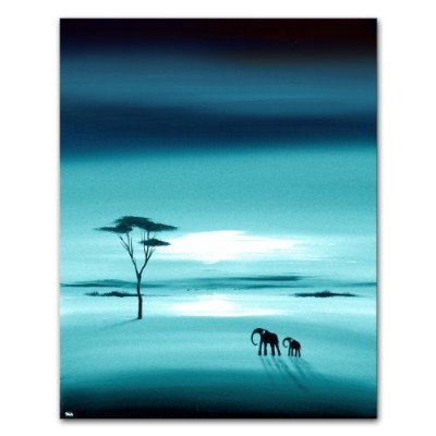 African Landscape Originalキャンバス絵画象ウォールアート–In Teal–by SCAアートby SCAアート