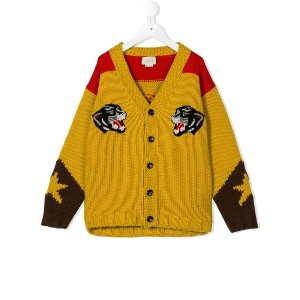 Gucci Kids cowboy jacquard knitted cardigan - イエロー