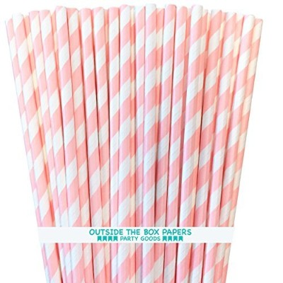 Outside the Box Papers Striped Paper Straws 7.75 Inches Light Pink, White by Outside the Box Papers