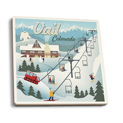 Vail、コロラド – レトロSki Resort 4 Coaster Set LANT-50812-CT