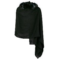 Charlotte Simone raccoon fur-lined hooded scarf - ブラック