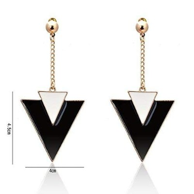 Lureme Black and White Enamel Large Triangle Dangle Earrings with Long Gold Chain for Women A2002327