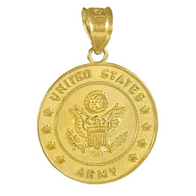 14Kゴールドmedal-styleチャームUS Army Coin Militaryペンダント