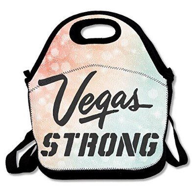 """Vegas STRONG Stay Warm耐久性ランチバッグピクニックラージ11.4"""" X 11.4"""" X 5.7"""" One Size ブラック afRT89-31090359"""