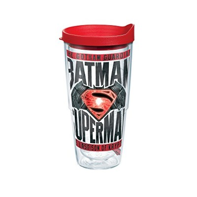 Tervis Warner BrothersバットマンvsスーパーマンムービーラップTumbler withレッド蓋、24オンス、クリア