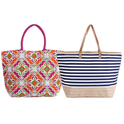 Earthbagsジュートビーチbags- 2pcセットストレージバッグ/ビーチバッグ/使用使用と再利用バッグ- - - - - - - ピンク EBBH005AMZ