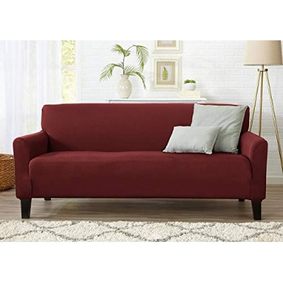 (Sofa, Burgundy - Solid) - Home Fashion Designs Form Fit, Slip Resistant, Stylish Furniture Cover...