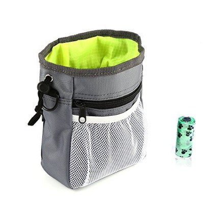 (Gray) - Dog Treat Pouch, Training Bag With Poop Bag Dispenser Carriers, Waist Clip Drawstring...