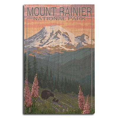 (10 x 15 Wood Sign) - Mount Rainier National Park, Washington - Bear and Cubs with Flowers (10x15...