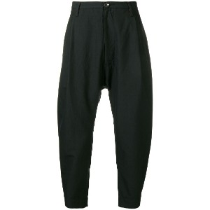 Ziggy Chen cropped tapered trousers - ブラック