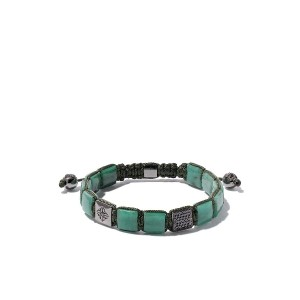 Shamballa Jewels 18kt white gold, emerald & black diamond bracelet -