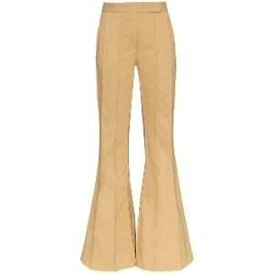 Rosie Assoulin corduroy pleated flare trousers - グリーン
