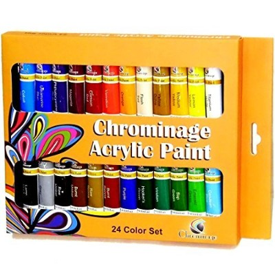 chrominageアクリルペイント–24色セット–明るい、フルボディと柔軟なアートPaints for Artists Crafters、学生、子供–キャンバスに使用、コート紙、ウッド...