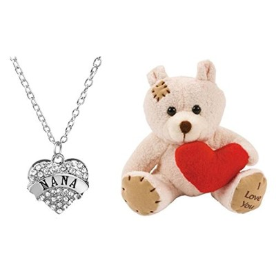"""Nanaクリアクリスタル18""""チェーンネックレスwith Plush 5"""" I Love You Bear / Made in the USA低アレルギー。Lead準拠"""