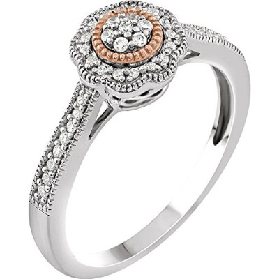Beautiful Rose-and-white-gold Cluster Halo-Style Promise Ring comes with a Free Jewelry Gift