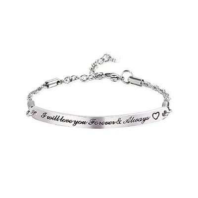 huiuy Charmingブレスレットステンレススチール調節可能Personalized Gift for Mother Expandable Wire Bangle Bracelets for...