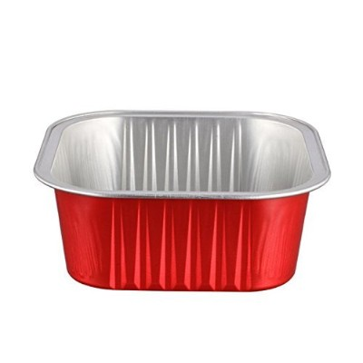 (Red) - KEISEN square 9.1cm Disposable Aluminium Foil Cups 150ml for Muffin Cupcake Baking Bake...
