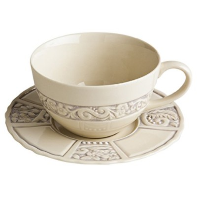 Flower Garden Latte Cup and Saucerのセットとして販売2カップと2Saucers ) 16 oz. パープル
