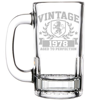 350ml Beer Mug Stein Glass 40th Birthday Vintage Aged To Perfection 1977