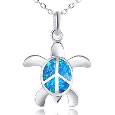 (Blue a) - KELITCH Initial Choker Necklace Synthetic Opal Extension Small Sideways Cross First...