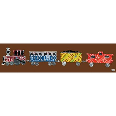 Oopsy Daisy Canvas Wall Art License Plate Train Chocolate by Aaron Foster, 48 by 12-Inch by Oopsy...