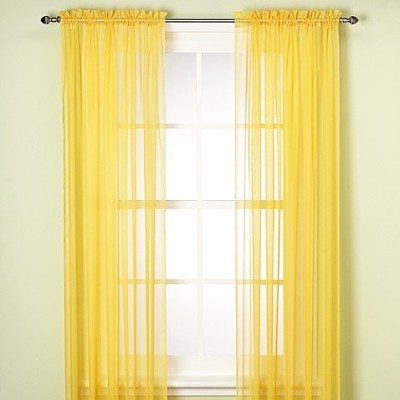 (210cm Length, Yellow) - GorgeousHomeLinenDifferent Solid Colours 2 PC Rod Pocket Sheer Window...