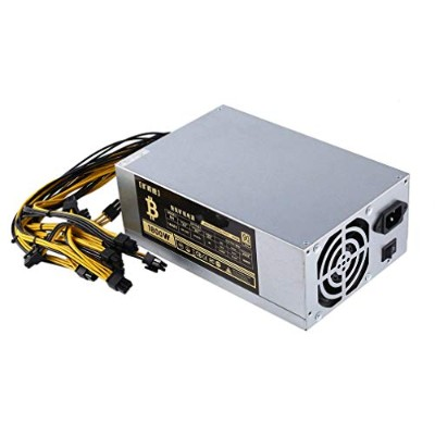 1800W高効率10x6ピンマイナー電源、6 GPU用Bitcoin Antminer S9 S7 L3 + D3 T9 E9 A4 A6 A7、冷却ファン2個(カラー:シルバー)