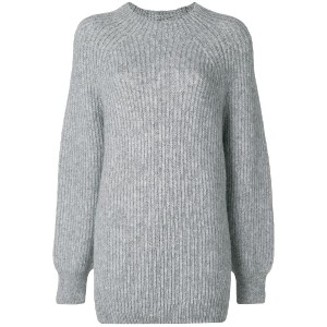 Closed ribbed knit sweater - グレー
