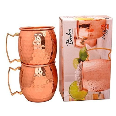 The Boho Street Moscow Mule Handcrafted 100% Pure Copper Mugs Brass Handles Set of 2 Solid Copper...
