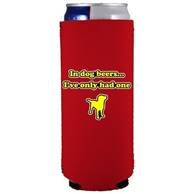 (Red) - Coolie Junction Dog Beers Funny Slim Can Coolie (Red)