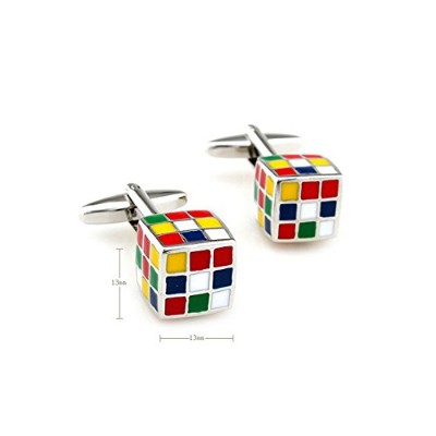 NovoGifts Rubik 's Cube Cufflinks for Men with aプレゼンテーションギフトボックス
