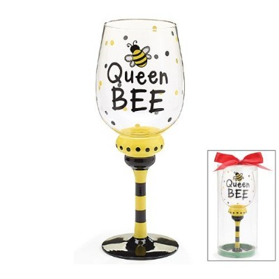 Queen Bee 16 ozワインガラス/ Goblet Adorable bumble Beeコレクション