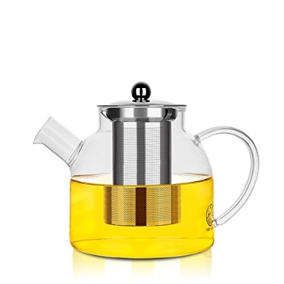 PurpleCrown 59オンスガラスピッチャーwithステンレススチール蓋、ストレーナ、水Carafe withハンドル、ティーポットIdeal for homemade Iced...