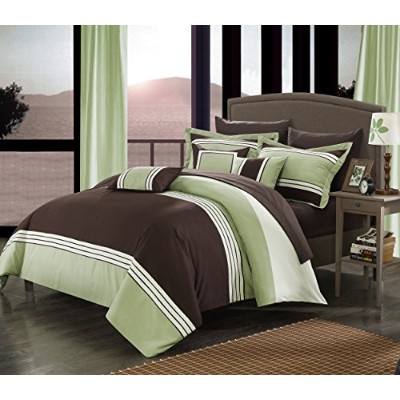 Perfect Home 10Piece Fullerton Bed in aバッグ布団セット、キング、グリーン