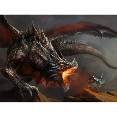 Painting Drawing Fantasy Monster Battle Dragon Canvas Print