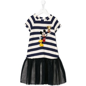 Monnalisa mickey mouse print dress - ブルー