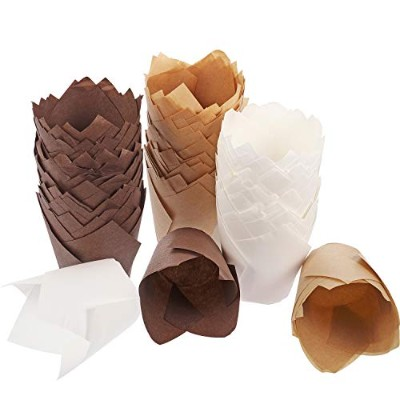 (Brown, Natural Color, White) - Hestya 150 Pieces Tulip Muffin Baking Cups Cupcake Muffin Liners...