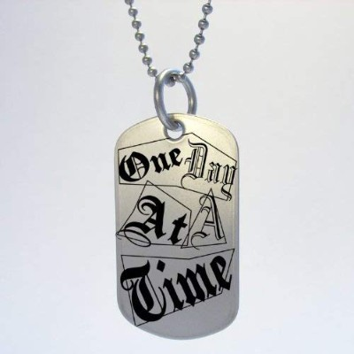 AA Alcoholics Anonymous One Day At A Time Dog Tag Necklace
