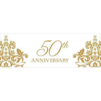 Creative Converting Golden Anniversary Giant Party Banner、60by 20インチ、ゴールド