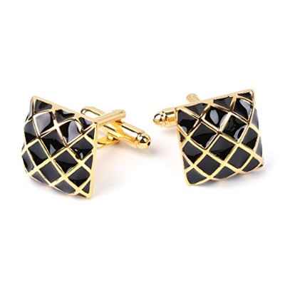 wivily Luxury Classic Square Grid Cufflinksメンズウェディングパーティーシャツスーツカフリンク