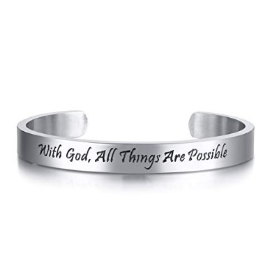 「With God All Things Are Possible」インスピレーション カフ バングル ブレスレット キリスト教 ジュエリー ギフト