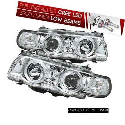 ヘッドライト [CREE LED Low Beam] 99-01 BMW E38 7-SERIES Chrome Halo Projector Headlight Lamp [CREE...