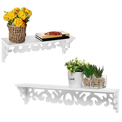 White Wood Cutout Scrollwork Design Wall Mounted Floating Shelves, Set of 2 (41cm and 60cm )