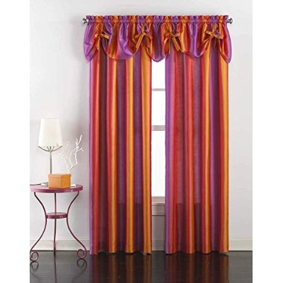 (210cm, Pink) - Rainbow Ombre Faux Silk Curtain Panel