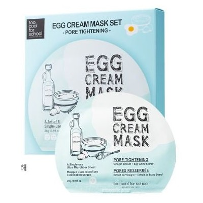 [New] too cool for school Egg Cream Mask (Pore Tightening) 28g × 5ea/トゥークール フォースクール エッグ クリーム マスク ...