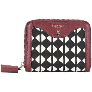 レディース SERAPIAN SMALL ZIP AROUD WALLET MOSAICO - SILK BLACK - OFF WHITE - CLARET 財布  ボルドー