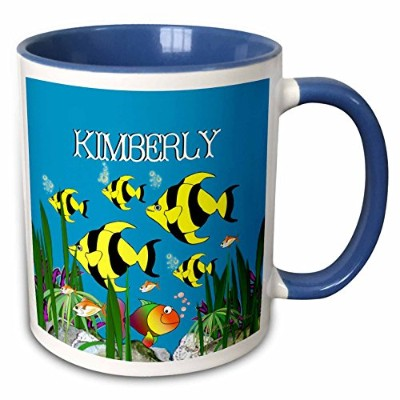3dローズSmudgeartメス子名Designs–Colourfulトロピカル植物と魚デザインPersonalized with aメス名Kimberly–マグカップ 11-oz Two...