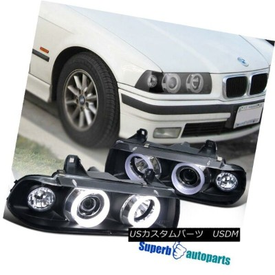 ヘッドライト 1992-1998 BMW E36 318 325 Iced Halo Rim Projector Headlights Black SpecD Tuning 1992-1998...