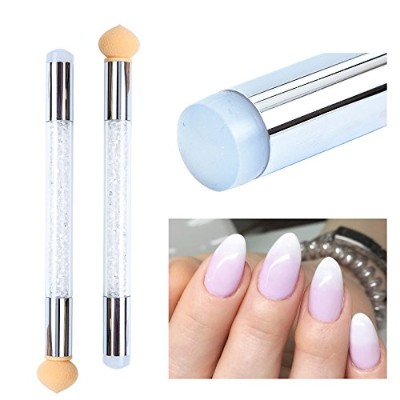 1 Set Gradient Stamping Design Nail Brush Gradient Shading Dotting Painting Pen Sponge Silicone UV...